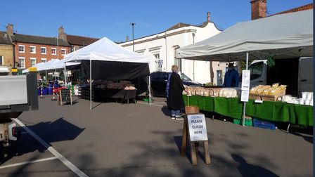 Swaffham market reopened on Saturday, May 2. Pictures: Market suptd