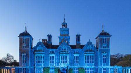 The National Trust's Blickling Hall was lit up in blue to mark the Clap for Carers event. Picture: N