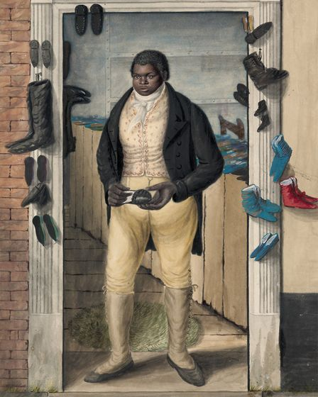 """Peter Brathwaite recreating John Dempsey's 1823 """"Black Charley"""" painting. Picture: Supplied Peter"""