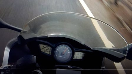 A motorcyclist was stopped after being spotted travelling at 125mph along the A47. A live fish was f