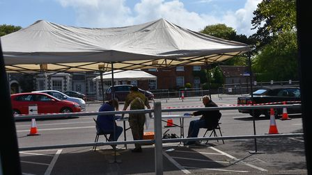 A coronavirus testing station in the Meadows car park, Cromer. Mobile stations have been based in to