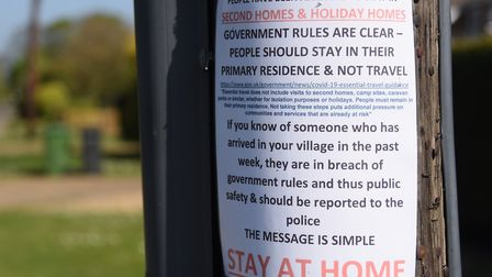 A poster at Holme-next-the-Sea during the coronavirus lockdown, warning second home owners and those