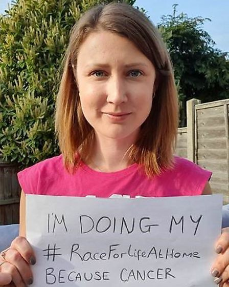 Laura Middleton-Hughes from Norwich who is backing Race For Life at Home. Picture: Cancer Research U