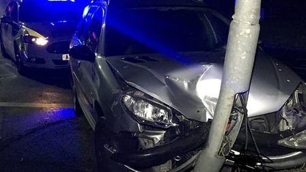 A driver was arrested following a crash near Gillingham. PHOTO: NS PoliceDogs Twitter