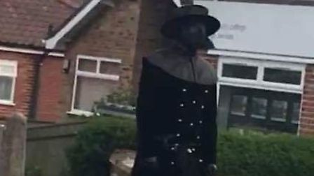 Picture of person walkign around Hellesdon in plague outfit. PIC: Fiona Fahy on the Hellesdon Life a