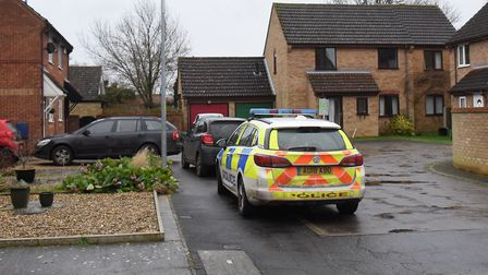 Police in Highfields in Costessey where a body of a woman has been found, and a man arrested. Pictur