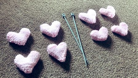 The knitted hearts created by Amber Cantwell. Picture: Amber Cantwell/PA Wire