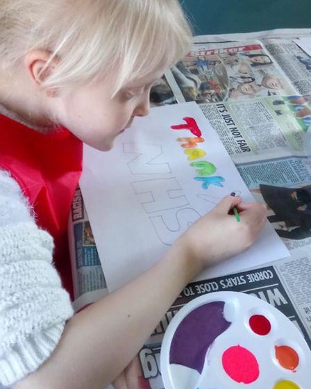 Scarlett-Rose has adapted so well to homeschooling and has been enjoying painting. Picture: Proudmum