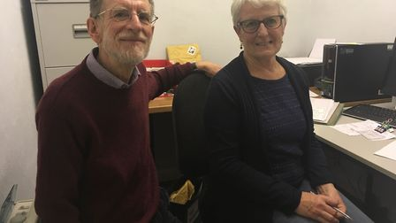 Chatterbox volunteer Frances Pearce with chairman David Potten. Volunteers are recording a podcast f