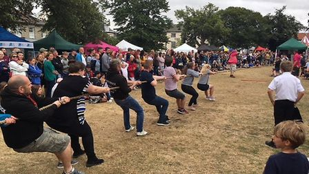 Participants take part in a tug-of-war at the Wells Carnival. Picture: STUART ANDERSON