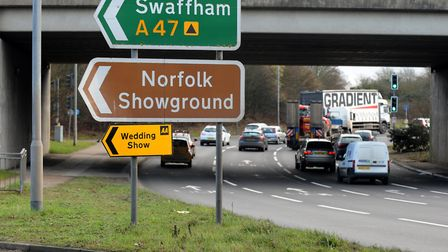 The Thickthorn roundabout on the edge of Norwich. Picture: Highways England