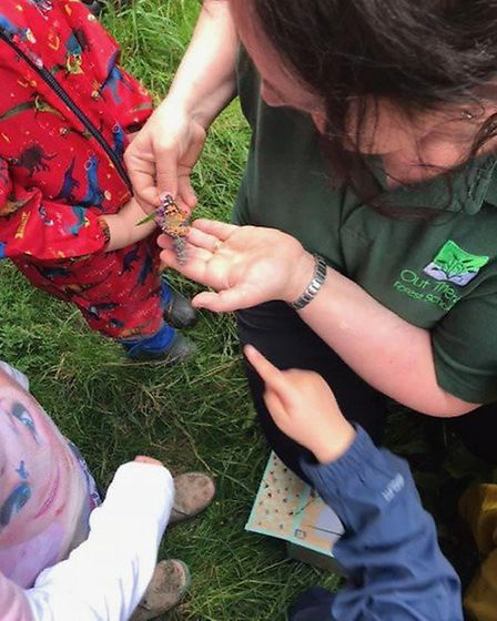 Jo Neal at the Out There forest school providing outdoor activities for children of all ages. Pic; J