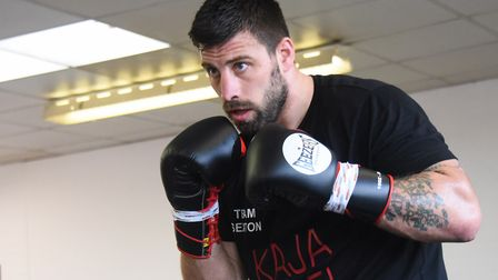 Boxer Sam Sexton in training for his British heavyweight title defence fight. Picture: DENISE BRADLE