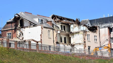 The latest demolition works continuing at the Cefas - former Grand Hotel building - in Lowestoft as
