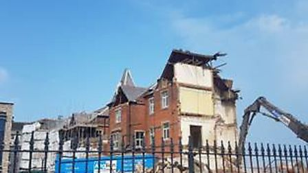 Work continues as part of the ongoing Cefas development in early May, with the E-block demolition co