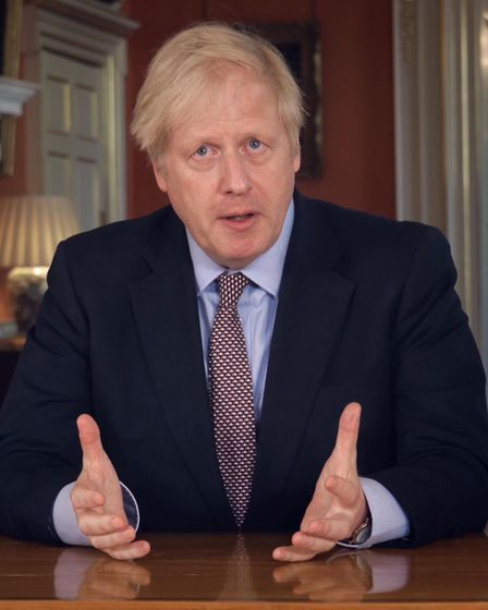 Screen grab of Prime Minister Boris Johnson addressing the nation about coronavirus (COVID-19) from