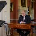 Handout photo issued by 10 Downing Street of Prime Minister Boris Johnson addressing the nation abou