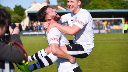 Rory McAuley and Aaron Jones, right, celebrate a monumental day for King's Lynn Town Picture: Ian Bu