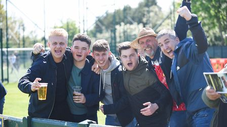 King's Lynn Town fans before the huge game at Warrington Picture: Ian Burt