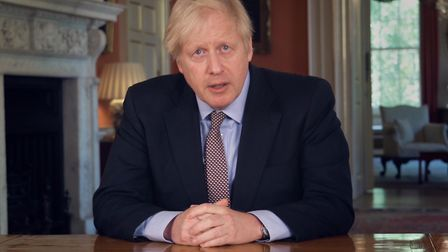Prime minister Boris Johnson addressing the nation about coronavirus from 10 Downing Street. Picture