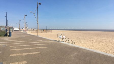 The deserted beach at Great Yarmouth during the Easter weekend. Picture: Reece Hanson