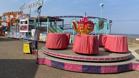 Closed amusements at Hunstanton beach during lockdown on Easter bank holiday weekend. Picture: Emily