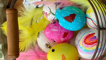 The Easter eggs made by the family. Picture: Tsveta Heary