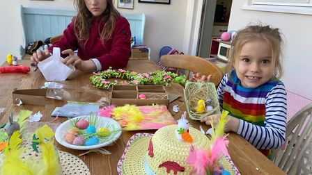 Siblings Lily and Daisy making Easter grafts. Picture: Tsveta Heary