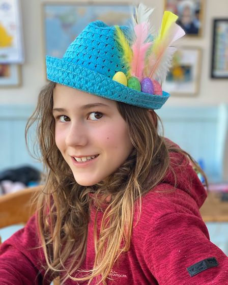 Lilly Heary with her Easter hat. Picture: Tsveta Heary