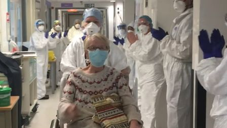 The heartwarming footage, released by the James Paget University Hospital, in Gorleston, shows a pat