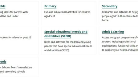 Norfolk County Council tips for learning at home include activties for all ages from pre-school to p