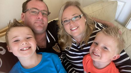 Linsey McFarlane, from Badersfield, with her husband Alistair, and sons Charles, seven (left) and Wi