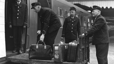 Lowestoft Central Station staff were issued with new uniforms in 1957. Photo: Archant Library