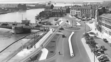 A view taken from Great Yarmouth Town Hall, showing Hall Quay with the Haven Bridge (left) then onto