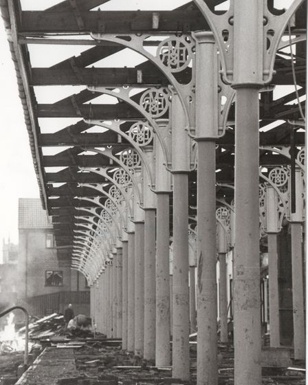 The Midland and Great Northern Railway logo incorporated into all the metal stanchions supporting th