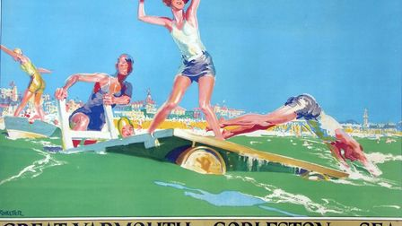 A Great Yarmouth and Gorleston railway poster by H Forster.