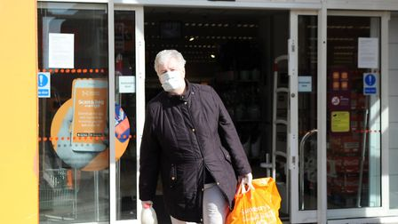 A shopper wearing a face mask amid the coronavirus pandemic. Picture: Chris Bishop