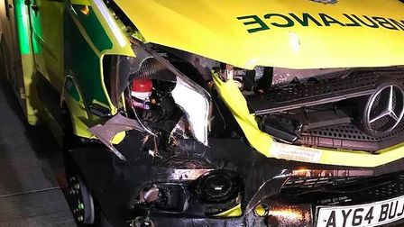 The damage done to an ambulance after it crashed into a herd of deer on the A11 at Wymondham. Pictur