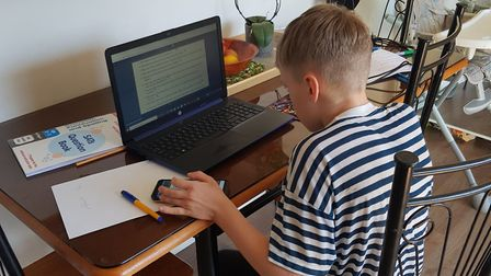 Pupils from Howard Junior School in King's Lynn taking part in online learning. Pictured: Matas, yea