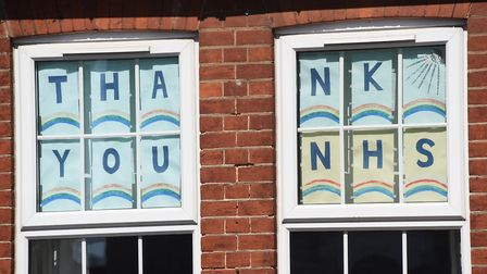 A thank you sign to the NHS during the Coronavirus lockdown in Attleborough. Picture: DENISE BRADLEY