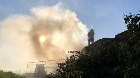 Norfolk Fire and Rescue Service were called to reports of a straw stack fire near Long Stratton in s