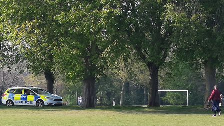 Police on patrol in Eaton Park during the lockdown. Photo: Archant