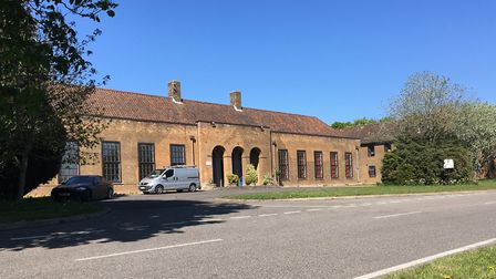 The main entrance to the old Officers' Mess building at the former RAF Coltishall site which is bein