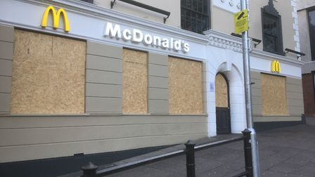 McDonalds in Haymarket, Norwich, boarded up during the coronavirus pandemic. Picture: Simon Parkin