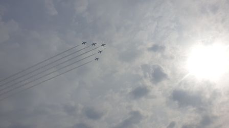 The Red Arrows fly over Dereham. Picture: Anita Clarke