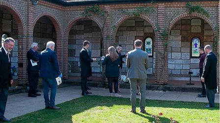 Mourners had to social distance at the funeral Derek LeFevre. Picture: Rosedale Funeral Home