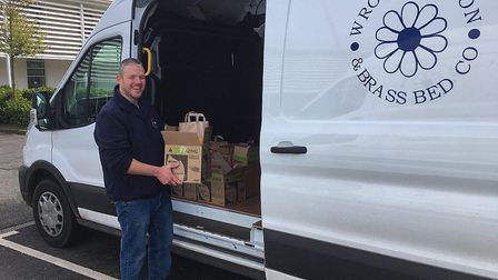 Lee Newstead from Wrought Iron and Brass company delivering essential items, Picture: Wrought Iron a