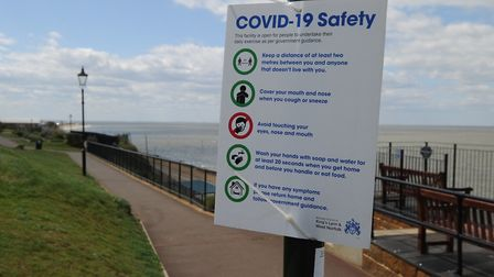 A sign warning visitors to stay safe on the cliff tops at Hunstanton Picture: Chris Bishop
