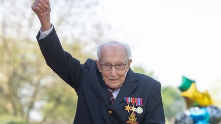 War veteran Captain Tom Moore, 99, after achieving his goal of walking 100 laps of his Bedfordshire