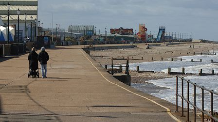 An almost deserted promenade at Hunstanton on the morning lockdown eased to allow people to drive to